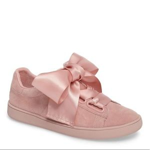 jeffrey campbell // pink suede bow lowtop sneakers